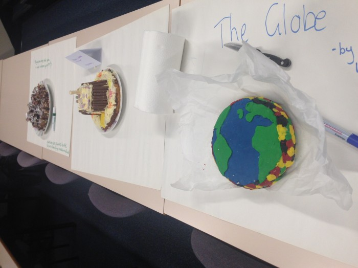 """The Globe - by the girls at the back who are too shy to bring the cake to the front"""